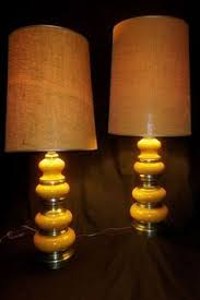 2 voluptuous vintage mid century speckled gold silver ceramic lamps awesome lighting