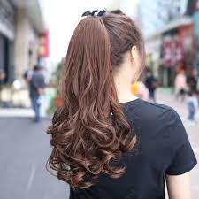 Long Curly Hair Wig High Ponytail Strap Type Invisible Big Wave ...