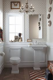 ideas bathroom sinks designer kohler: pedestal kohler cimarron bathroom sinks with toilet and mirrored vanity plus peel and stick wallpaper for
