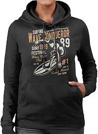Wave Conqueror Surf Women's Hooded Sweatshirt ... - Amazon.com