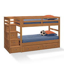 brown painted mahogany wood bunk bed with storage drawers and stair using chrome metal pull out bunk beds kids dresser