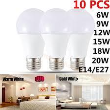 10pcs Led Bulb E27 <b>E14</b> 220V Real Watt 6-20W High <b>Bright Energy</b> ...