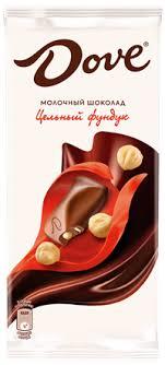 <b>Шоколад DOVE</b> Молочный цельн. фундук – купить в сети ...