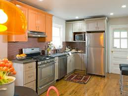 full kitchen orange cabinets