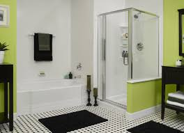 bathroom box white tone bathtub mixed glass shower box and green painted wall fiberglass bathroom vanity