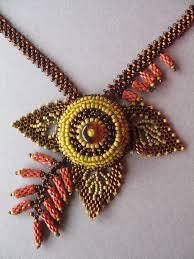 Heleconia <b>necklace</b> by Jeka Lambert, <b>detail</b>. <b>Seed bead</b> woven ...