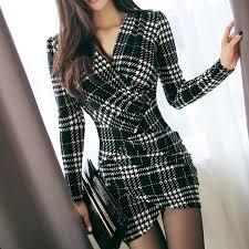 Sexy <b>Vintage</b> Plaid Dresses 2019 <b>Spring Women</b> Long Sleeve ...