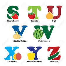 a illustration of fruit and vegetables in alphabetical order a illustration of fruit and vegetables in alphabetical order from s to z stock vector