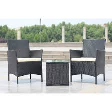 black and white patio furniture. walker handmade 3piece compact outdoorindoor garden patio furniture set black pe rattan and white
