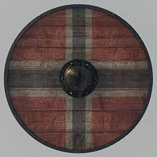 Viking Shield Designed with A Nordic Cross in Red ... - Amazon.com