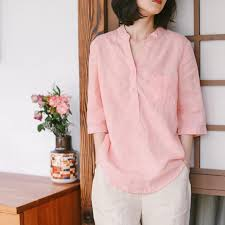 Loose Pure Color Linen Shirt <b>Women Summer Casual Blouse</b> W8726