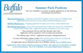 employment city of buffalo mn 2017 summer park help position ad