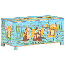 <b>Handpainted Storage Box</b> 80x40x40 cm Solid Mango Wood Sale ...