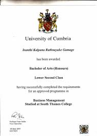 thi kalpana rathnayake gamage bayt com ba hons business management degree completed the result of second class honours lower division 2 2