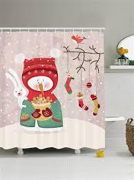 """Штора (<b>занавеска) для ванной</b> """"Угощение от снеговика"""" из ткани ..."""