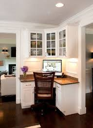 create household central with a mini office this kitchen workspace makes the most of a small corner with upper and lower cabinets for storage and a amusing create design office space