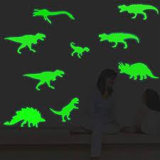 9Pcs/Set <b>3D Creative</b> PVC <b>Luminous</b> Dinosaurs Wall Stickers Glow ...