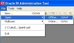 iii once you are in bi administration tool open repository in offlineonline mode as shown in screenshot obiee administration