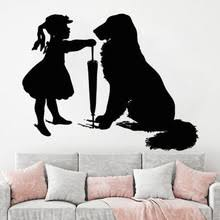 Wall Decal for kids rooms decoration Girl Umbrella Dog Animals Pet ...
