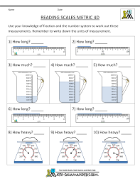 4th Grade Measurement Worksheetsmath worksheets 4th grade reading scales metric 4d