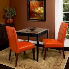 leather dining chair set brown