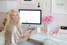 chic pink amp gold home office tour with caroline birgmann best regarding girly home office chic organized home office