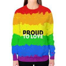 """Свитшот женский с полной запечаткой """"Proud to love"""" #2683668 ..."""