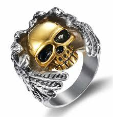 <b>Angel</b> Wings Gold Skull Men Ring Gothic <b>Punk</b> Men <b>Stainless Steel</b> ...