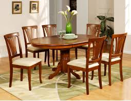 Oval Shape Pedestal Dining Table For  With Brown Painted Also - Dining room tables oval