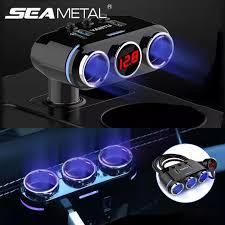 Car Lighter Socket Splitter Plug <b>12</b>-<b>24V</b> LED Auto USB Charger ...