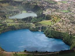 The Green and Blue Lakes of Mt Gambier Volcano South Australia  It is one of