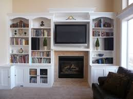 Living Room With Bookcase Fireplace With Hearth Center Bookcases On Sides Entertainment