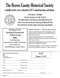 annual dinner invitation brown county historical society 2016 annual dinner invite