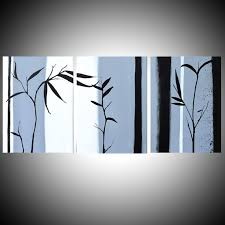 Bamboo oriental art <b>chinese painting</b> triptych painting wall art 3 ...