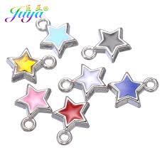 Juya 50pcs/lot <b>Wholesale</b> Oil Drop Enamel <b>Heart</b> Star <b>Silver Charms</b> ...