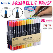 <b>STA 80 Colors Double Head</b> Dual Tips Watercolor Brush Marker ...