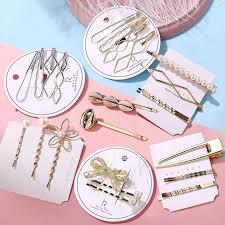 Women <b>Geometric</b> Bows <b>Pearl</b> Flower Hair Clips Retro <b>Simple</b> Alloy ...