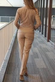 camel pant suit collarless blazer skirt suits business camel pant suit collarless blazer