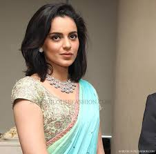kangana_ranaut_embroidery_short_sleeves_saree_blouse bollywood and south indian actress kangana ranaut in beautiful designer short actress kangana ranaut