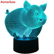 Pig Cute <b>3D LED Lamp Table Lamp LED</b> USB Sensor Night <b>Lights</b> ...