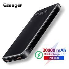 <b>Essager</b> 20000mAh <b>Power</b> Bank Quick Charge 3.0 USB C PD QC3 ...