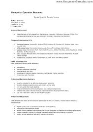 sample resume computer operator fresher   sales   operator   lewesmrsample resume  computer operator resume   resume  amp