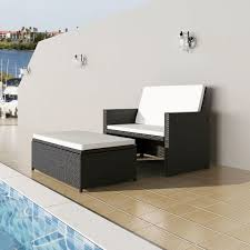 vidaXL <b>Garden Sofa</b> Set 5 Piece <b>Poly Rattan</b> Black Sun Bed ...