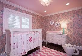 room elegant wallpaper bedroom: elegant baby girl nursery ideas with crystal chandelier in pink ceiling as well pink wallpaper plus striped rug on floor beside white crib baby and lamp on