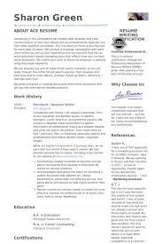 President   Resume Writer Resume Samples VisualCV