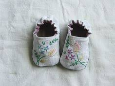 Green Linen Embroidered <b>Shoes</b> by Tiny Happy (<b>Melissa</b> Wastney ...