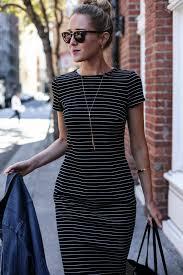 striped sheath dress and jean jacket memorandum nyc fashion striped dress messy bun work style blog