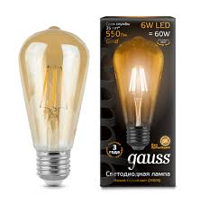 102802006 <b>Лампа Gauss</b> LED <b>Filament ST64</b> E27 6W Golden ...