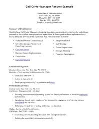 Call Center Manager Job Description  retail description for resume