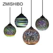 ZMISHIBO 3D Fireworks <b>Glass Pendant Lights</b> LED E27 Hanging ...